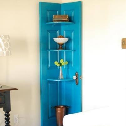Door that's been turned into clever shelving unit. From Rethink Waste NI facebook page.