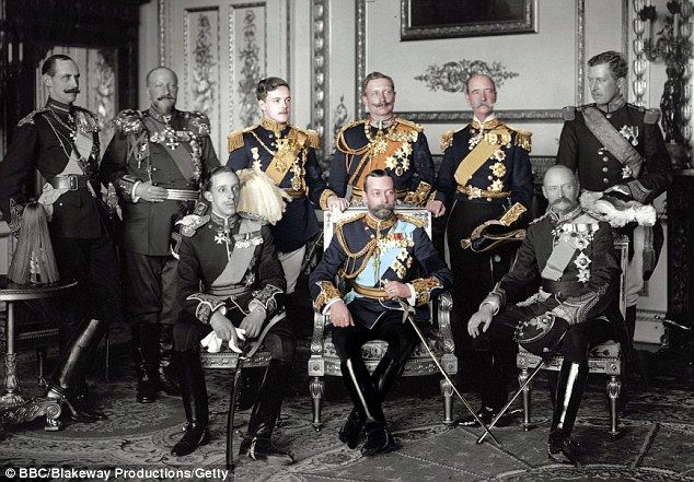 King George V (1865-1936) UK (front center) was as disdainful of his cousin  Wilhelm II (1859-1941) Prussia-Germany as  his father King Edward VII (1841-1910) UK had been. When Wilhelm II's grandmother Queen Victoria (1819-1901) UK died, peace between the Russian, British & German branches of the family dissipated & Europe edged closer to war: cousins George V & Tsar Nicholas II Romanov (1868-1918) Russia on 1 side &  Wilhelm II on the other. Photo BBC Blakeway Productions–Getty.