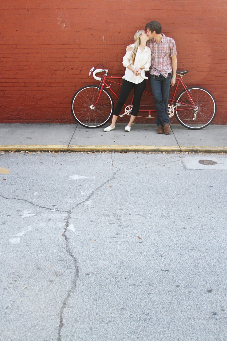 tandem bicycle engagement photos-love the simplicity and low-key-ness.