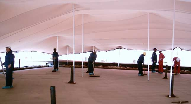Rigging configurations with RHI stretch tents: Chevron Refinery in Cape Town, South Africa – 800m²