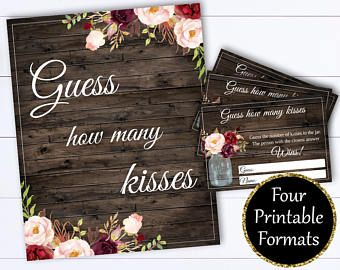 How Many Kisses Bridal Shower Games - Guess The Kisses Bridal Shower - Guess How Many Wedding Shower Game - Instant Download Printable Game