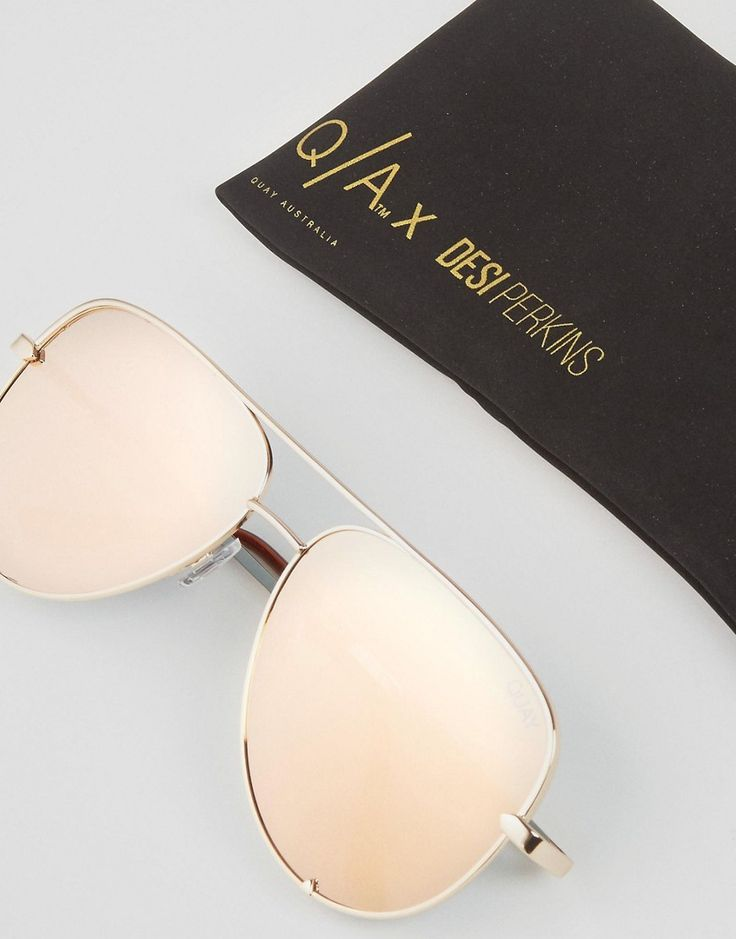 Image 2 of Quay Australia x Desi High Key Flat Lens Aviator in Rose Gold