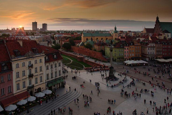 ワルシャワ, 旧市街, サンセット, 夜, ポーランド, 記念碑, 観光, アーキテクチャ