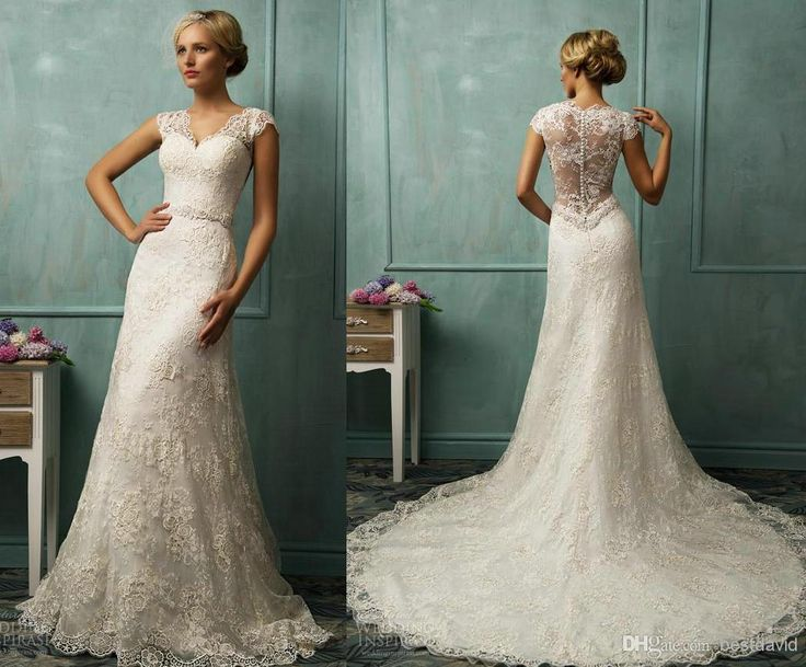 Wholesale Wedding Dress - Buy Sheer Straps Lace Cap Sleeve Wedding Dresses Illusion Back Sheath Sweetheart Beaded Organza Chapel Train Donata Bridal Gown, $189.09 | DHgate