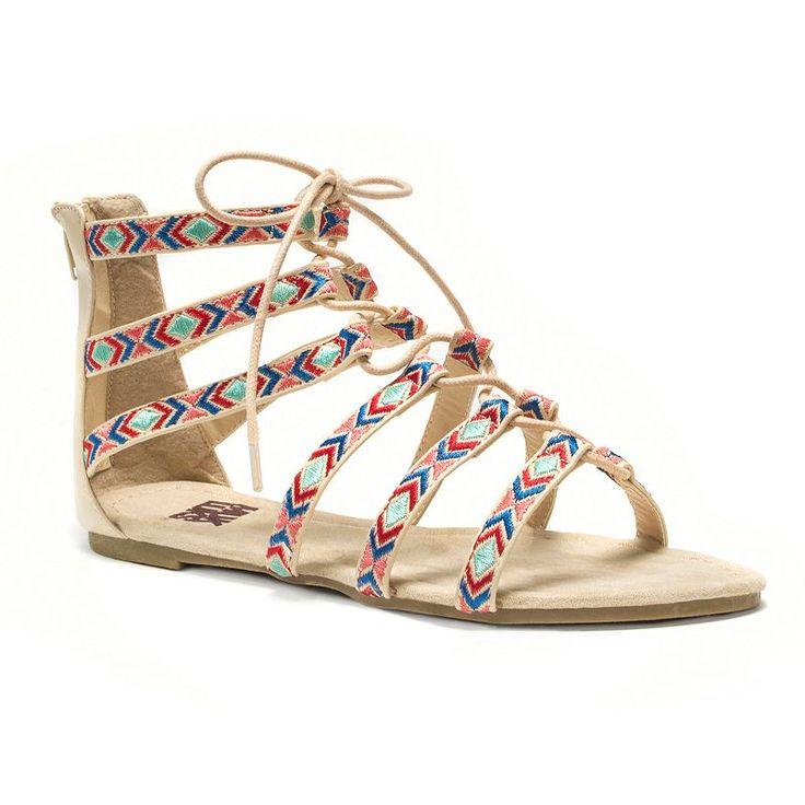 MUK LUKS Jessica Women's Caged Sandals, Beig/Green (Beig/Khaki)