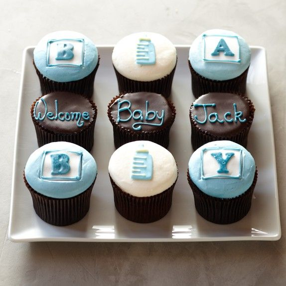 OOOHHH--perfect for the little prince! More® Personalized Baby Cupcakes for Him, Set of 9