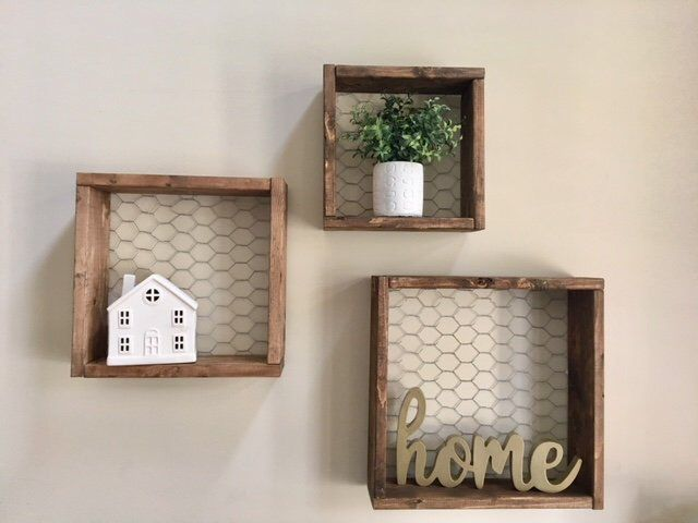 Chicken Wire Box Shelves Chicken Wire Shelf Chicken Wire Box Rustic Shelf Farmhouse Shelf Rustic Wall Rustic Wall Decor Rustic Frames Handmade Home Decor
