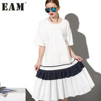 2017 Мода Новый простой Черный Белый шить сыпучих БОЛЬШИЕ dress женский орган плиссированные подол оптовая Женщина W0070