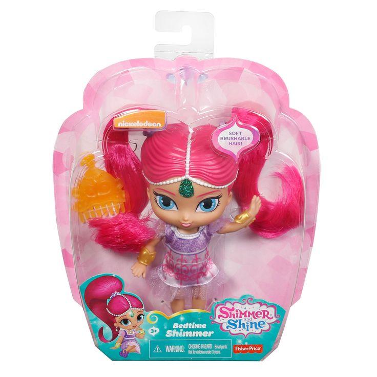 Speel de dromen uit Shimmer & Shine na met deze bedtijd pop van Shimmer. Shimmer heeft haar nachtjapon al aan, kam haar lange roze haren met de oranje kam en vertrek samen naar dromenland.