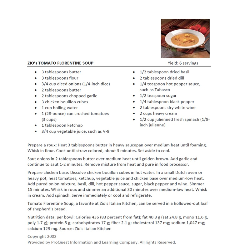 This is my absolute FAVORITE soup to make.  I love ordering it when I go to Zio's, but I love MAKING it even better. I'm the only one in the house that likes it, so I make it and free it in one-cup portions.  (And I use half & half rather than heavy cream.)