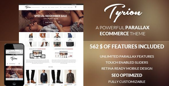 Tyrion -  Flexible Parallax e-Commerce Theme   http://themeforest.net/item/tyrion-flexible-parallax-ecommerce-theme/6193222?ref=damiamio       Tyrion is a powerful parallax Woo Commerce theme with a lot of custom eCommerce features. We develop a lot of beautiful WordPress themes (like Bazar, Room09 and Maya. Our themes are best sellers here on Themeforest and we have thousand of happy customer) and we use custom plugins and additions like the Ajax filter feature in the shop page, or the…