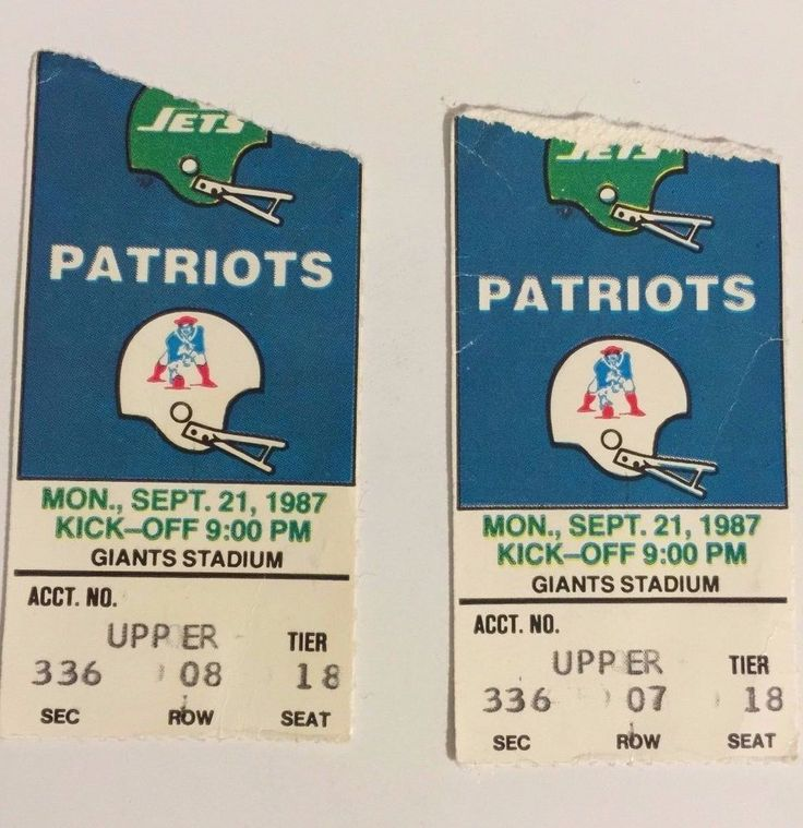 two1987 jets vs #Patriots ticket stubs monday sept. 211987 #Giants stadium from $19.99