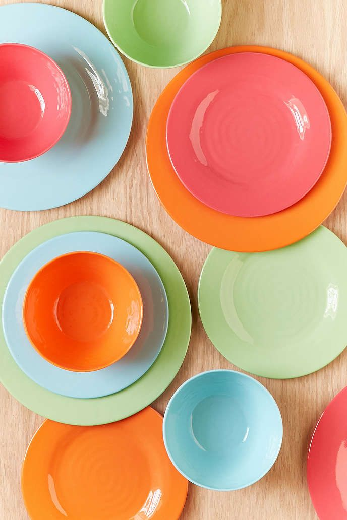12piece bright solids melamine dinnerware set - Melamine Dinner Plates