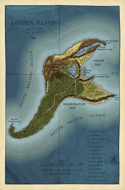 "Map of Lincoln Island (Jules Verne's ""the Mysterious Island"")"