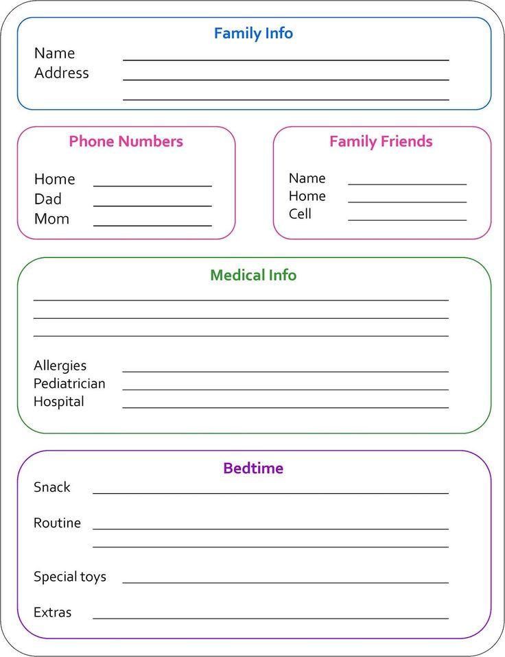Random Bits: Babysitter Info Sheet {organization}