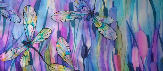 Handmade Fine Silk Scarf. Very light, soft and delicate material (pongeе 5 pure silk material). This piece of art is named Dragonfly and is one of a kind. Size: 40 x 140 cm. (15 x 55 inch)