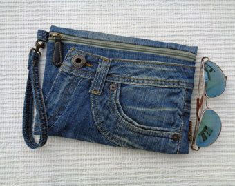 Jeans clutch wristlet make up cosmetic zipper bag by BukiBuki