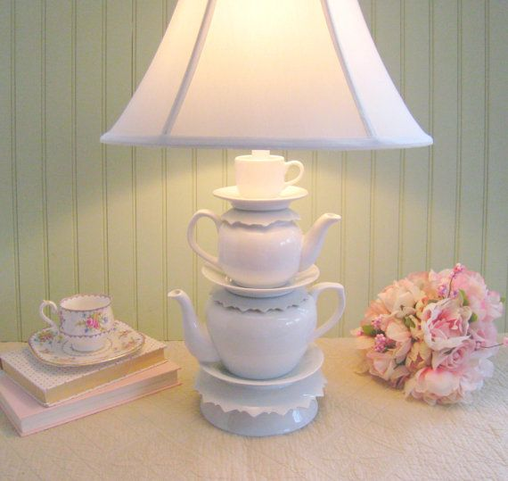 """White Teapot Lamp, Two Teapots Tea Cup and Jagged Saucers, Alice in Wonderland Inspired Shabby Chic Country Baby Nursery, """"Alison"""" Series"""