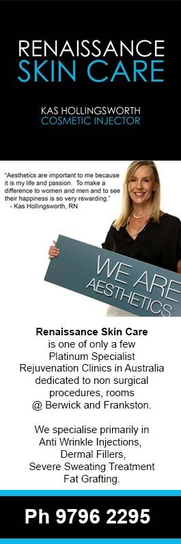 Renaissance Skin Care is one of only a few Platinum Specialist Rejuvenation Clinics in Australia, based in Melbourne @ Berwick and Frankston. We specialise primarily in Wrinkle Fillers, Wrinkle Relaxers, Severe Sweating Treatment and Fat Grafting.