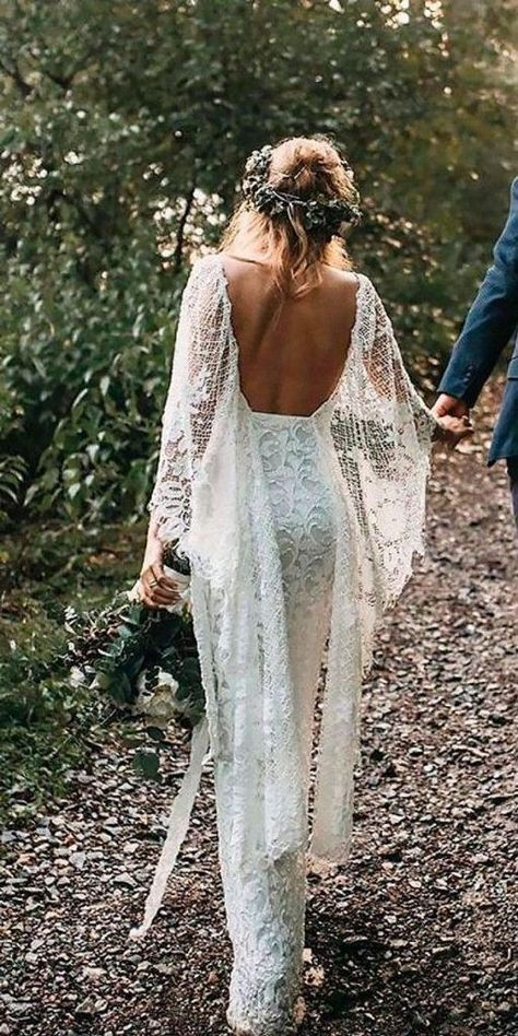 Batwing Sleeve Lace Rustic Wedding Dresses Ivory Sheath Boho Wedding Dresses AWD1163