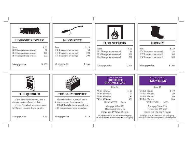Harry Potter monopoly Printables!