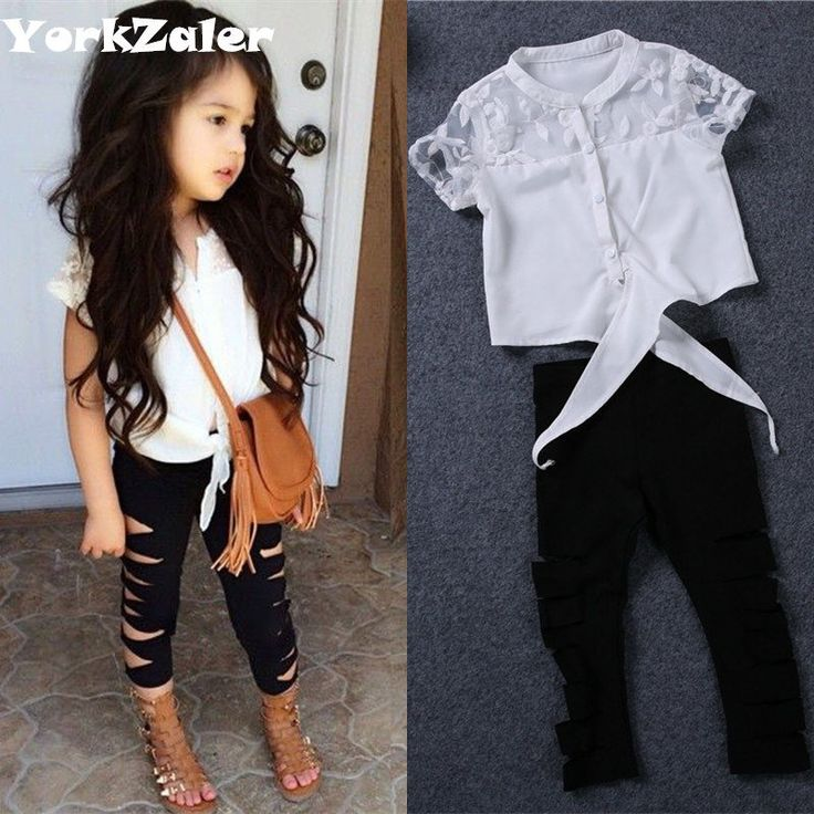 white lace shirt ripped leggings baby girl clothing set