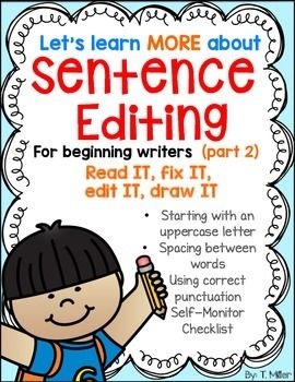 editing a sentence for periods spaces between words and uppercase letters sentence writingsentence forletter spacingkindergarten