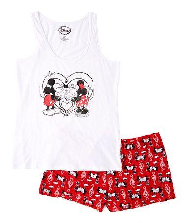 Love this Mickey & Minnie Tank and Pajama Short Set - Juniors on #zulily! #zulilyfinds