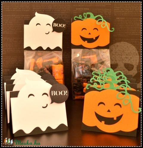 Halloween 5 db édesség tartó tök szellem fekete narancs, Baba-mama-gyerek, Dekoráció, Meska