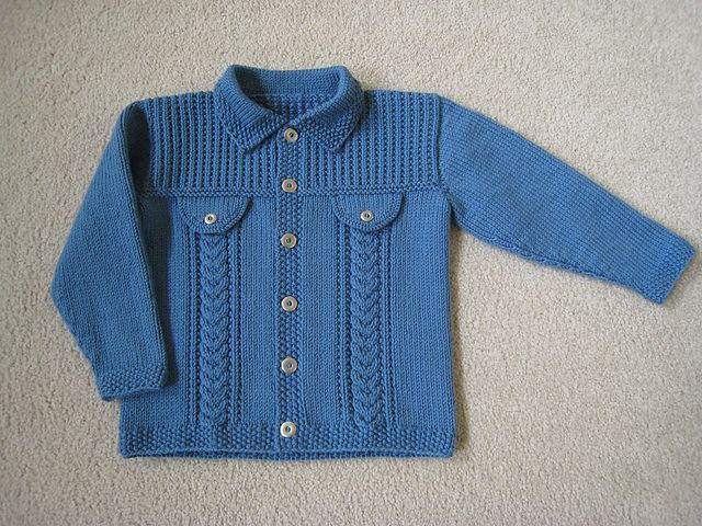Jacket with or without front flap mock pockets, sized from birth through 6 years.