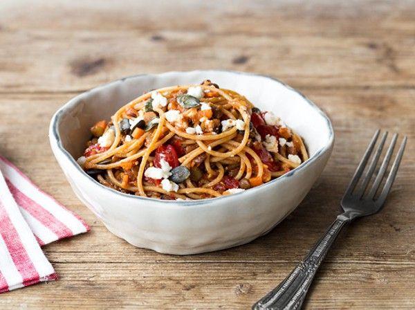 Spaghetti mit Linsen, Kirschtomaten und Feta
