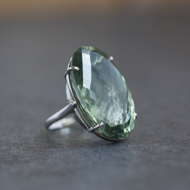 Hand made Silver 925 Ring with oval cut single Green Amethyst . This stone is from Brazil, its rare and very impressive. Depending on the stone size PRICE varies from 200 to 280€ for the rings with ex