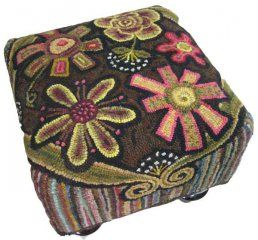 Make your own rug hooked footstool with Cindi Gay's patterns or blank template.