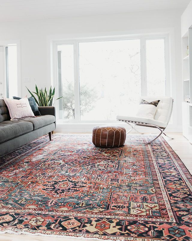 Large Bold Area Rug Vintage Heriz With Red And Blue Colours Great Pop Of Colour For A Minim Living Room Carpet Large Living Room Rugs Persian Rug Living Room