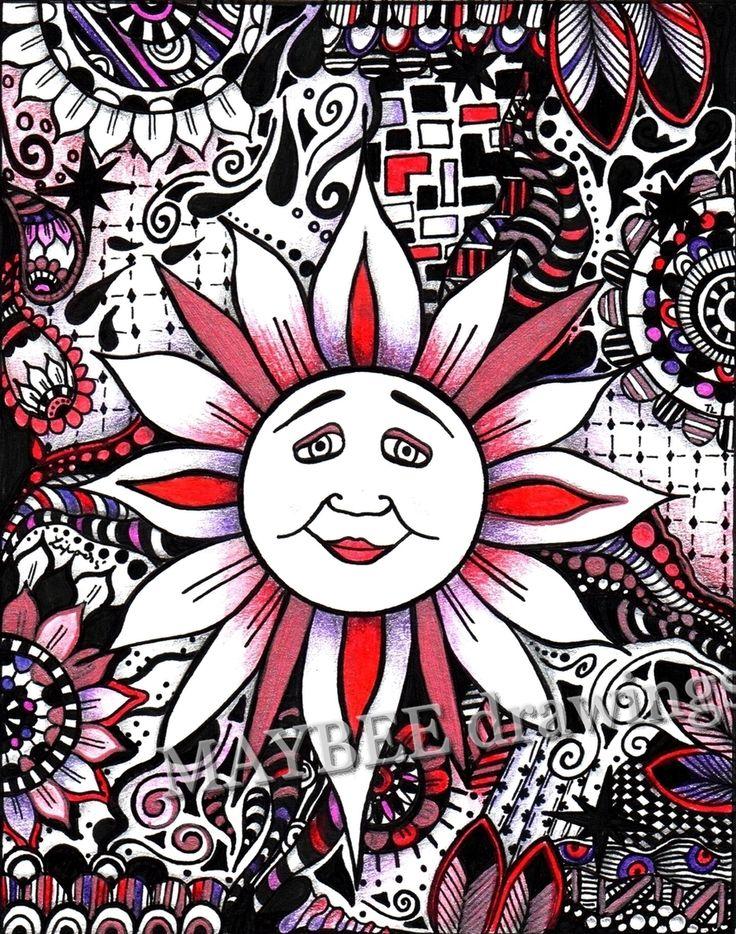 pen drawing, colored pen draving, sun, drawing sun