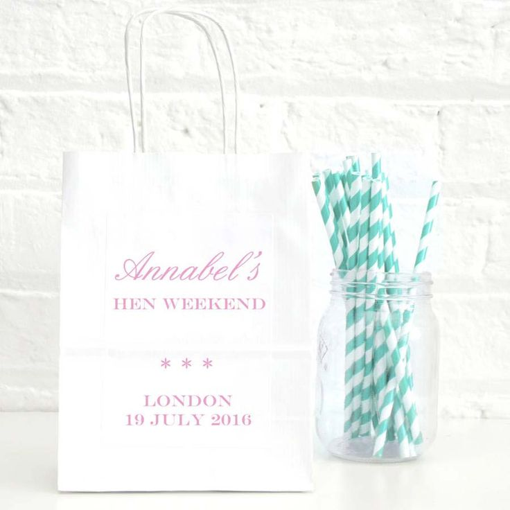 White hen party bags from Not on the High Street