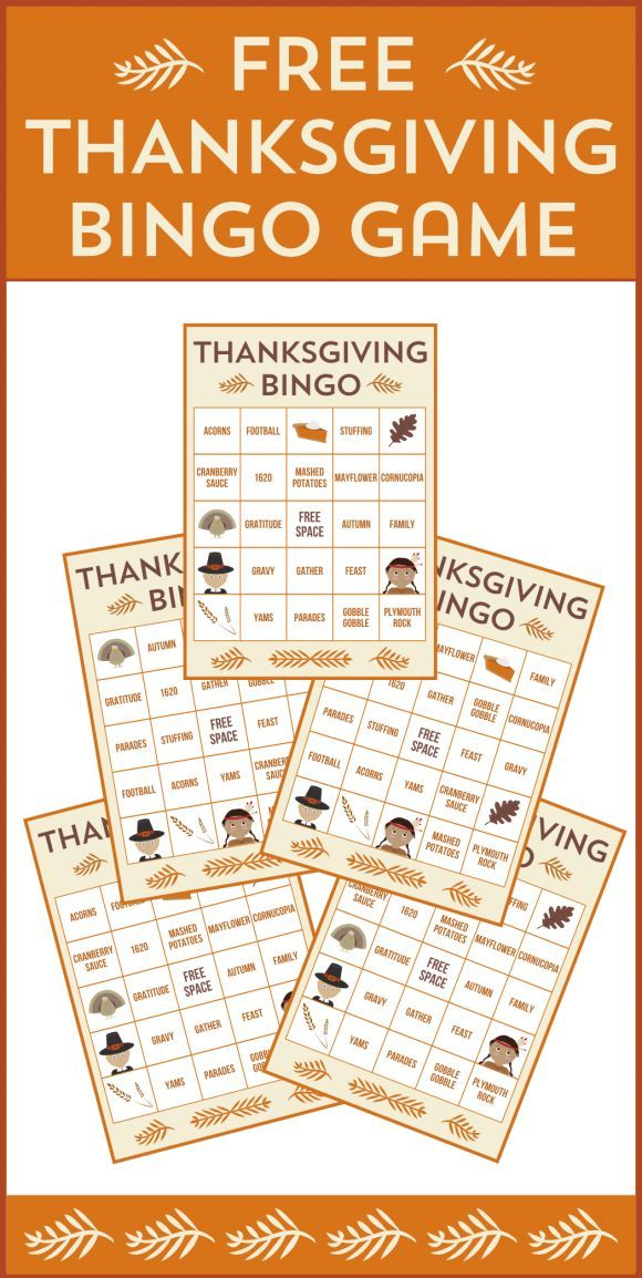 Free printable Thanksgiving bingo cards. A perfect party