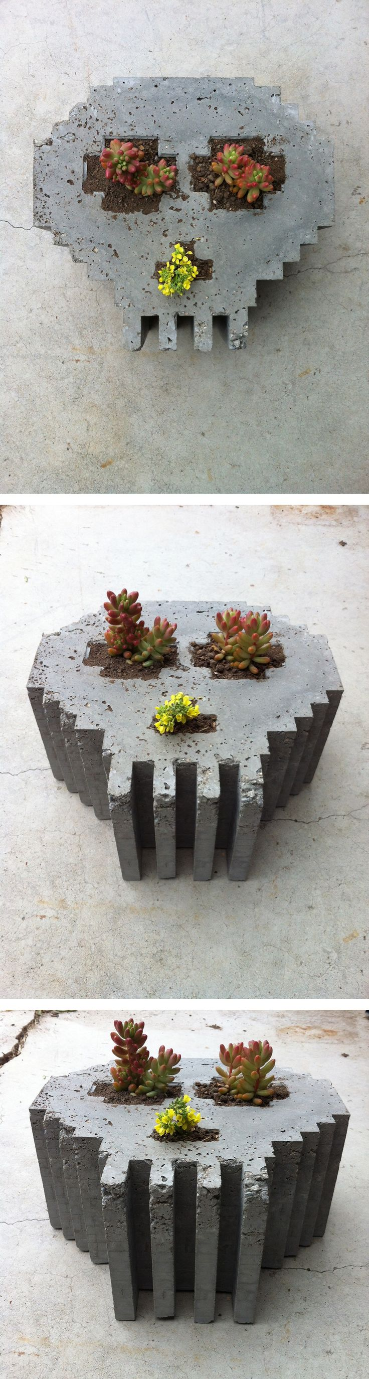 Concrete planters are quick and fun projects to make. Check out the site for instructions: http://www.homemade-modern.com/ep33-8-bit-concrete-skull-planter/