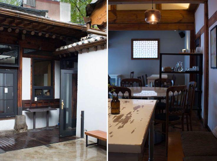 Namusairo coffee shop in Seoul, Gwanghamun. Modern coffee shop in a traditional Korean home