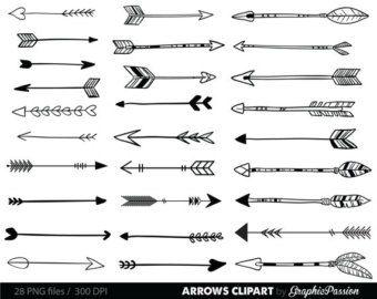 Flechas blancas Clip conjunto de arte. por PixelGardenDesign