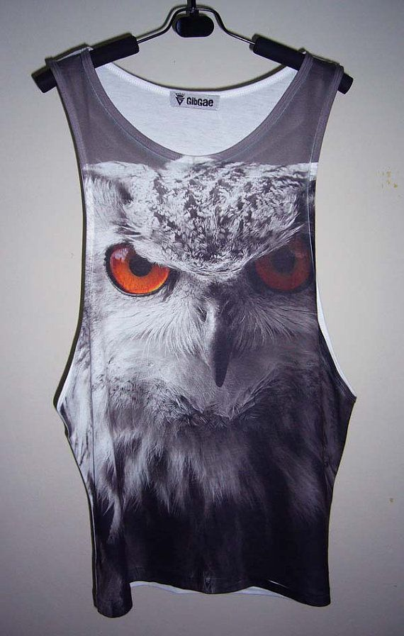 Forest Owl Animal Art Screen Printed Men T Shirt Tank Tops Medium Men T-Shirts Sleeveless Men T Shirts Singlet  Size M on Etsy, $18.99