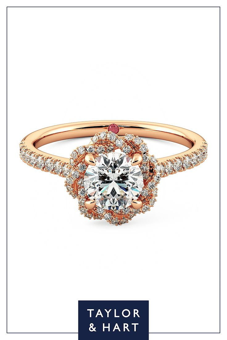 Be bold and daring with this statement  diamond pave engagement ring.The Entwine combines a round diamond centre pave diamond halo set in 18ct rose gold. Get in touch and let's craft your dream ring! #engagement #engagementring #Pave #diamond #rosegold