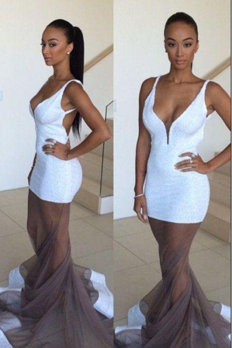 White Prom Dress,Backless Prom Dress,Illusion Prom Dress,Fashion Prom Dress,Sexy Party Dress,