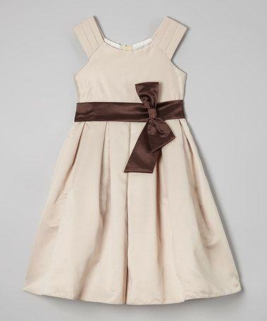 Champagne & Brown Cap-Sleeve Dress - Toddler & Girls #zulily #zulilyfinds
