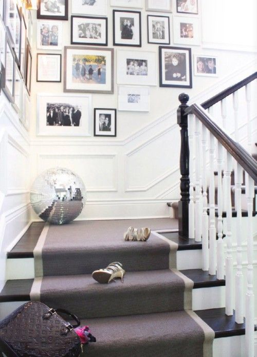 A disco ball casually placed on the landing of my gray, black, and white staircase? Yes please!