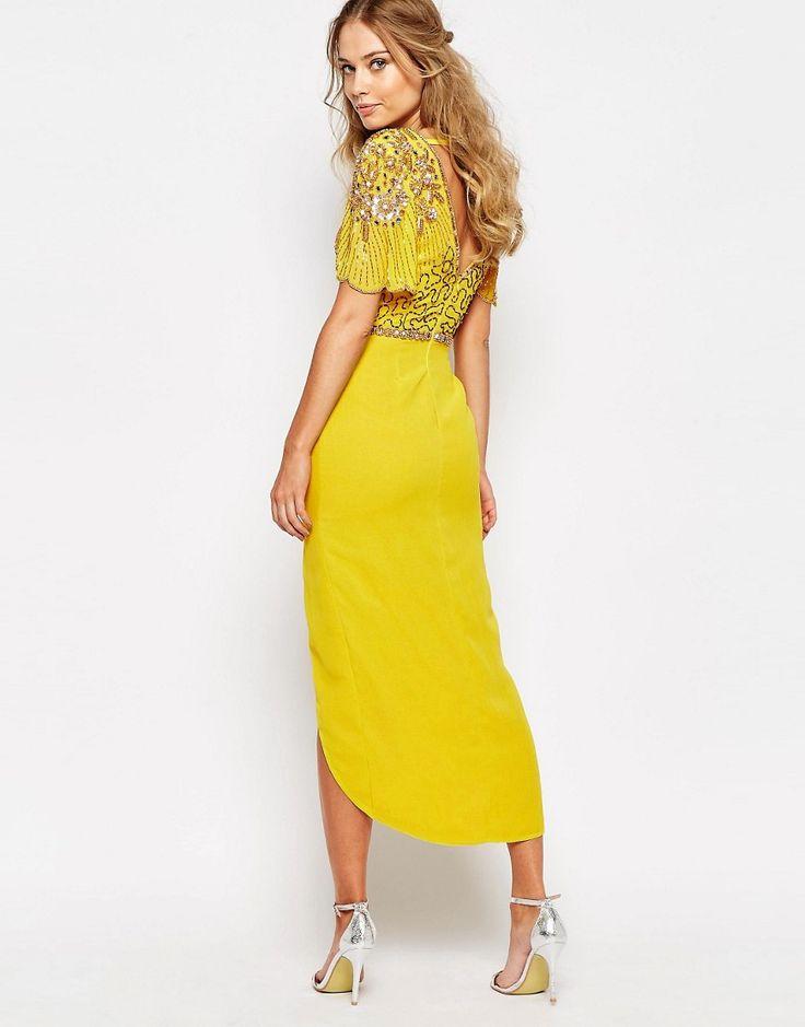 Image 2 ofVirgos Lounge Laila Embellished Midi Dress With Thigh Split