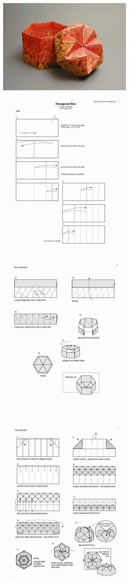 Origami Hexagonal Box Folding Instructions | Origami Instruction