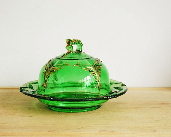 Antique Glass Butter Dish Heisey Winged Scroll by CalloohCallay, $115.00