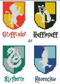 Hogwarts Houses Gryffindor Slytherin Hufflepuff Ravenclaw Logo Crest Harry Potter Cross-stitch PDF pattern Instant digital download + bonus