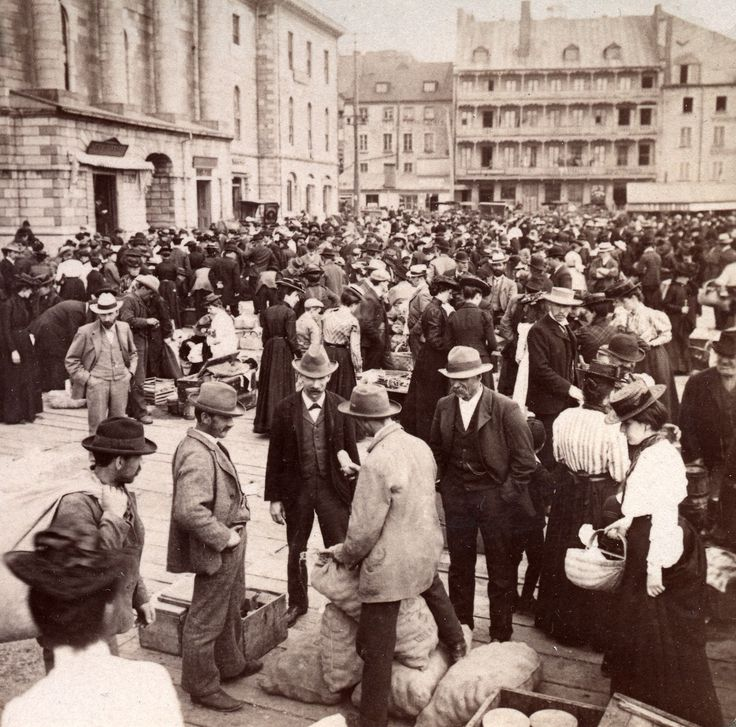The marketplace in old town, Quebec City, Canada- 'Life to-day in picturesque settings of early times.' 1903